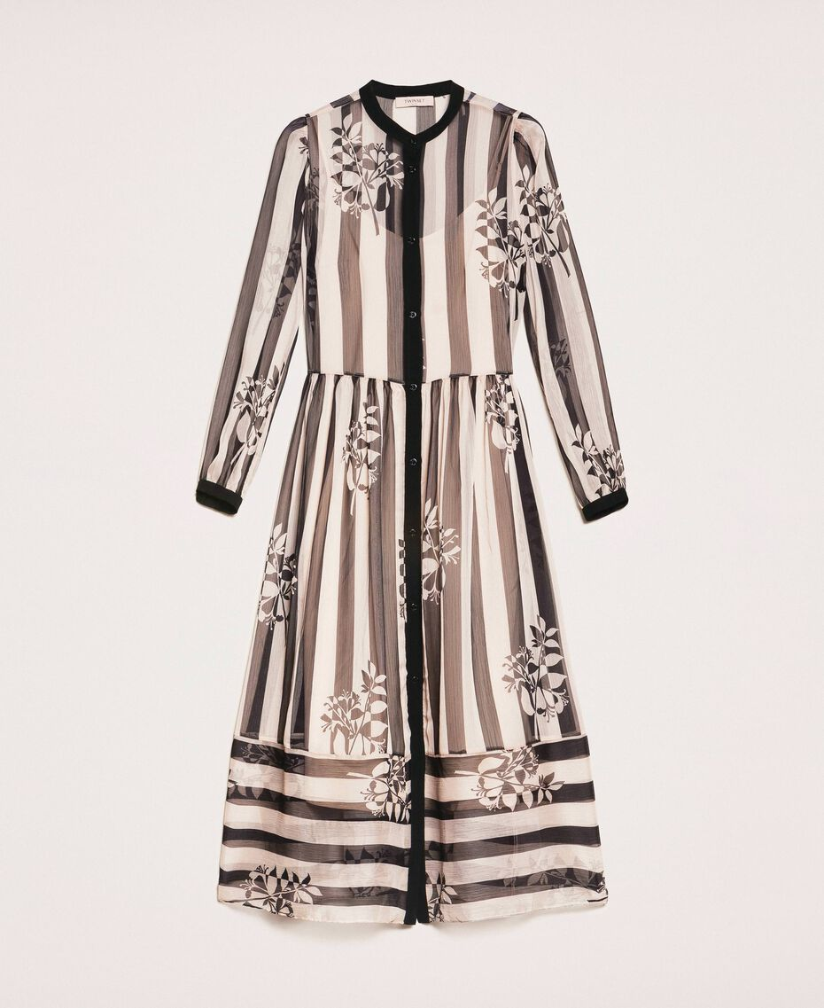 Long creponne dress with stripe and flower print Floral Print over Snow/ Black Stripes Woman 201TP2300-0S