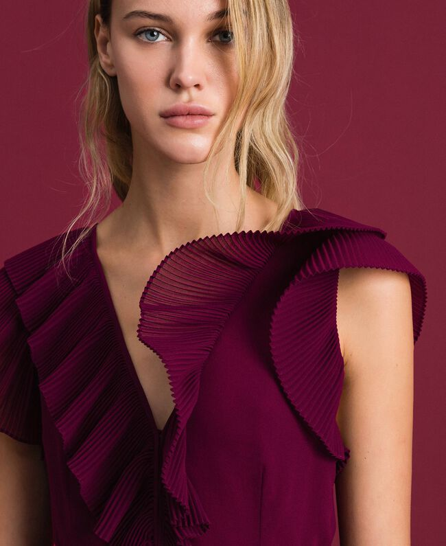 Robe en crêpe georgette plissé Rouge Velours Femme 192TT2071-04