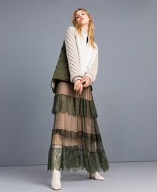 Tulle plumetis and lace long dress Forest Green Woman TA82XA-0T