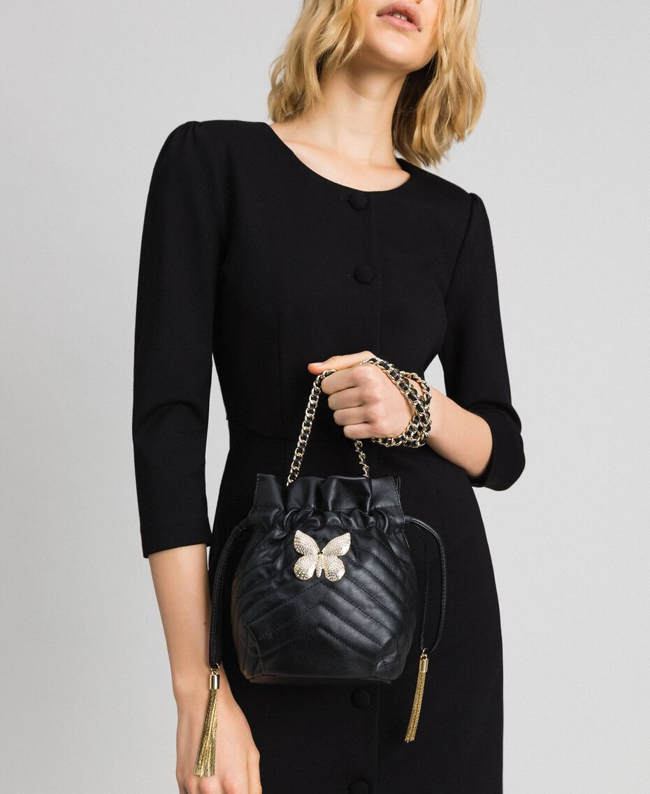 Small quilted leather bucket bag Black Woman 192TA7105-0S