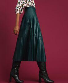 Jupe mi-longue en similicuir plissé Vert «Forêt» Femme 192ST2015-02