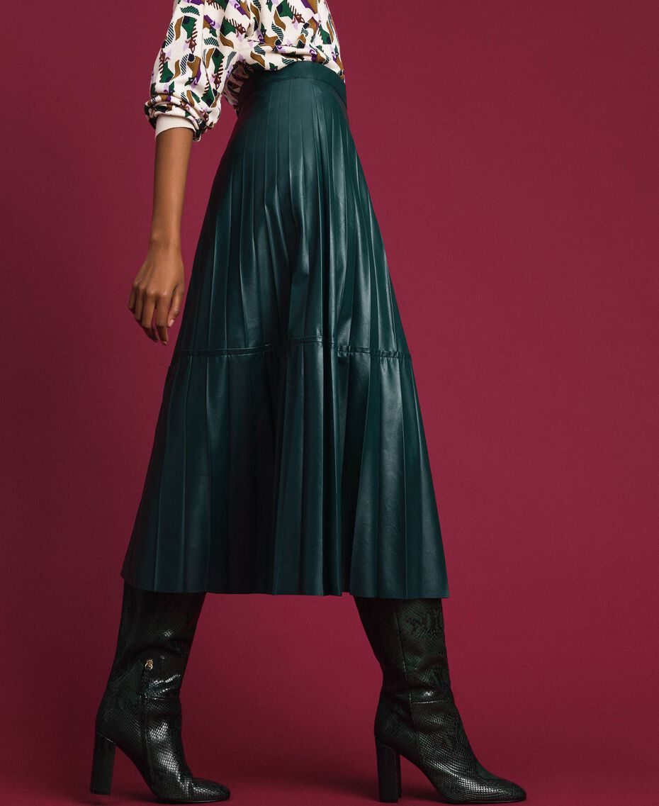 """Faux leather pleated midi skirt """"Forest"""" Green Woman 192ST2015-02"""