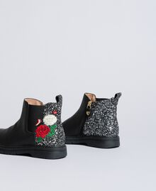 Embroidered leather beatles Bicolour Black / Silver Glitter Child HA88C3-01