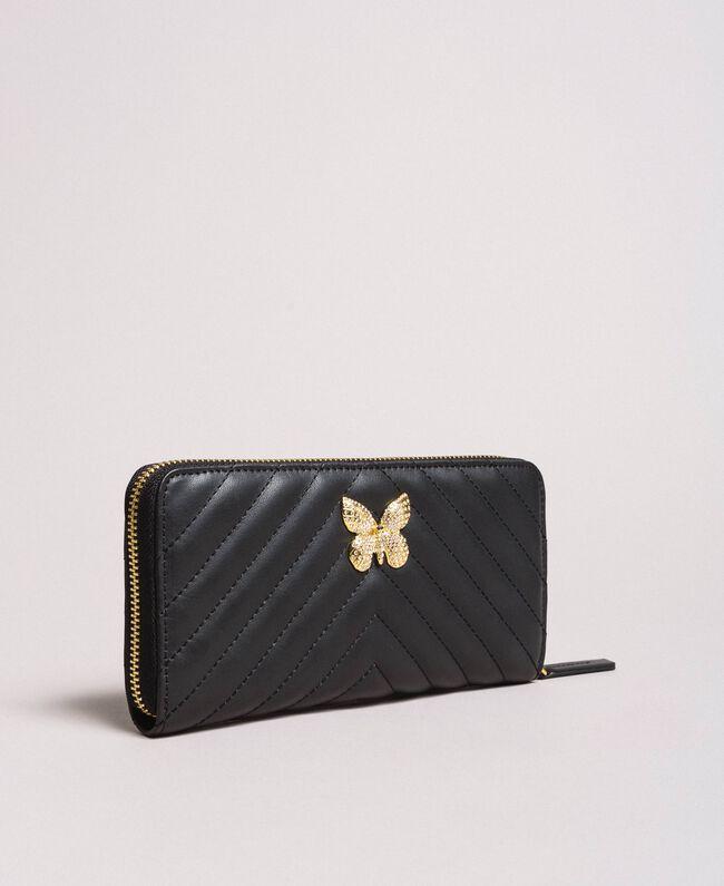 Portefeuille en cuir matelassé Noir Femme 191TA7198-01