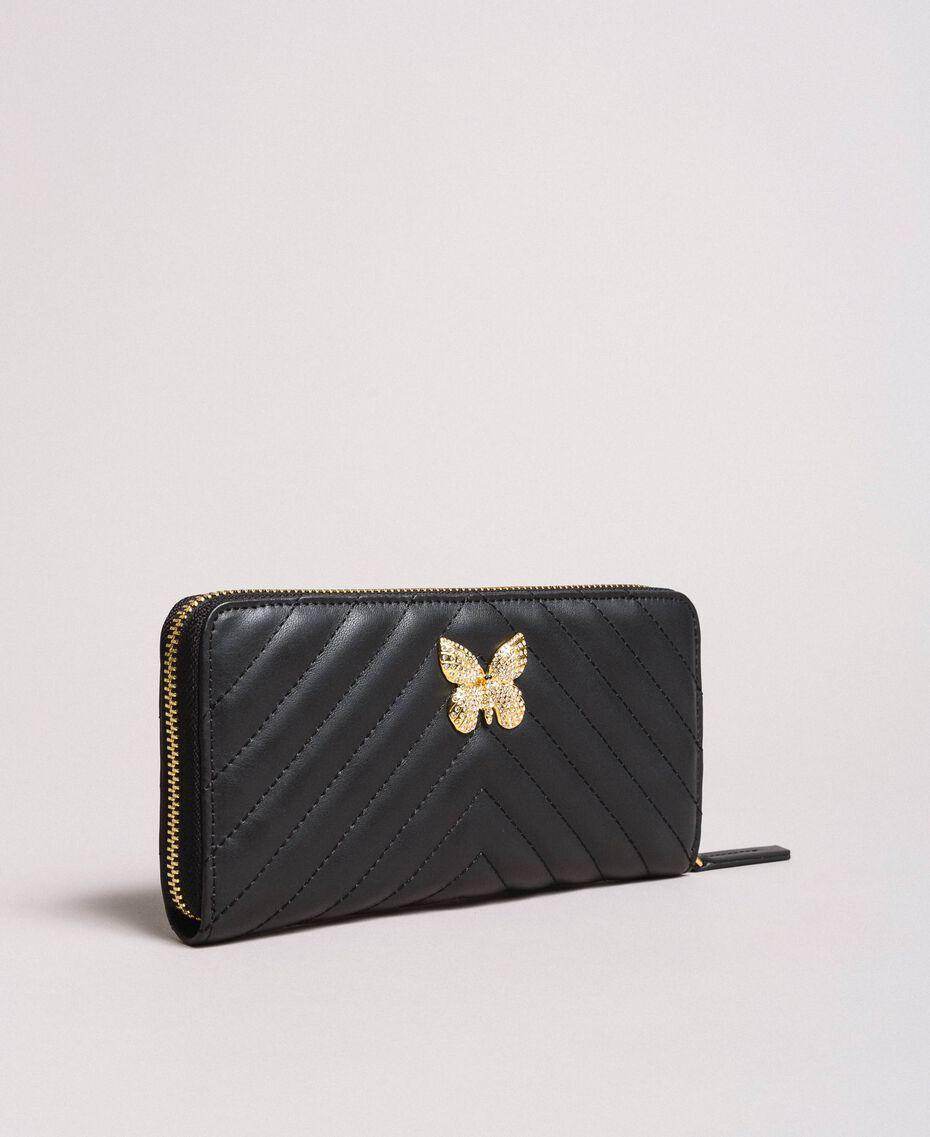 Matelassé leather wallet Black Woman 191TA7198-01