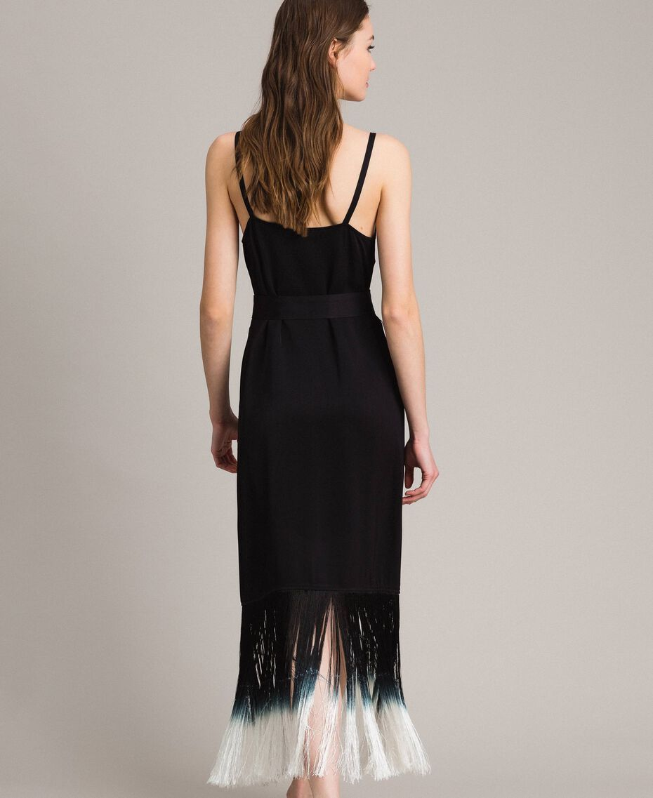 Robe longue avec broderies florales et franges Noir Femme 191TT2134-03