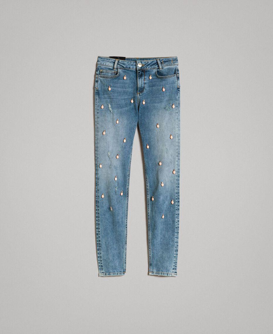 Skinny Jeans mit Lünetten und Strasssteinen Denimblau Frau 191MP2481-0S