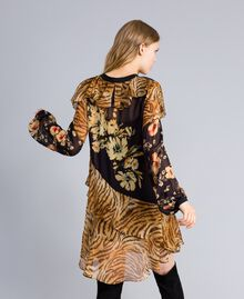 Short dress with mix of prints Flowers&Tiger Mix Print Woman TA825C-03