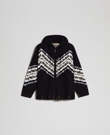 "Jacquard bomber jacket with floral chevron pattern Black / ""Papyrus"" White Jacquard Woman 192TP3231-0S"