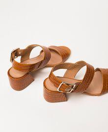 Leather sandals with croc print Crocodile Leather Print Woman 201TCT014-03
