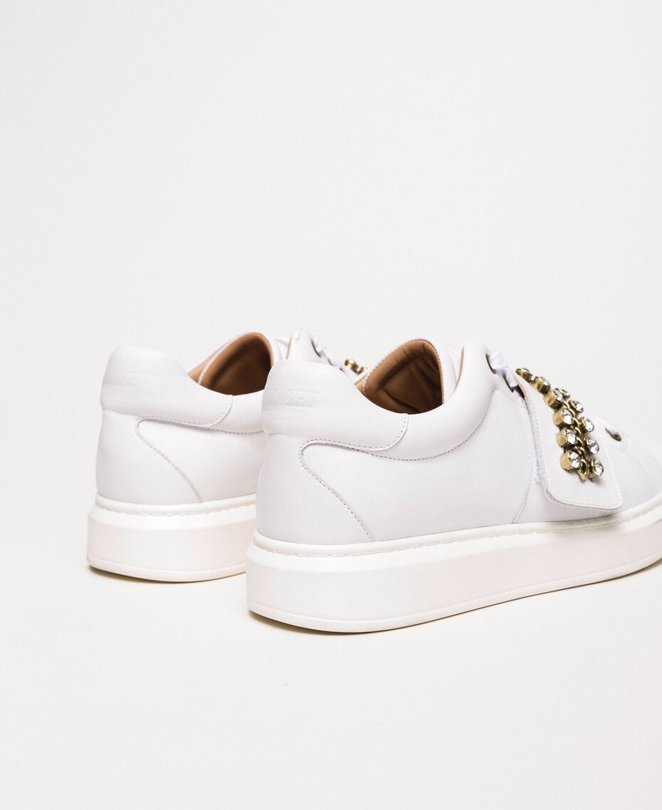 Leather trainers with bezels White Woman 201TCP094-03