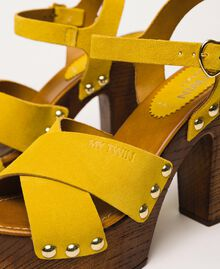 Suede clog sandals Ochre Yellow Woman 201MCT01A-04