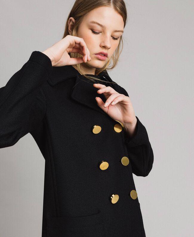 Mantel aus Tuchstoff Schwarz Frau 191MP2461-01