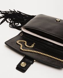Leather shoulder bag with fringes Black Woman 201TO8142-05