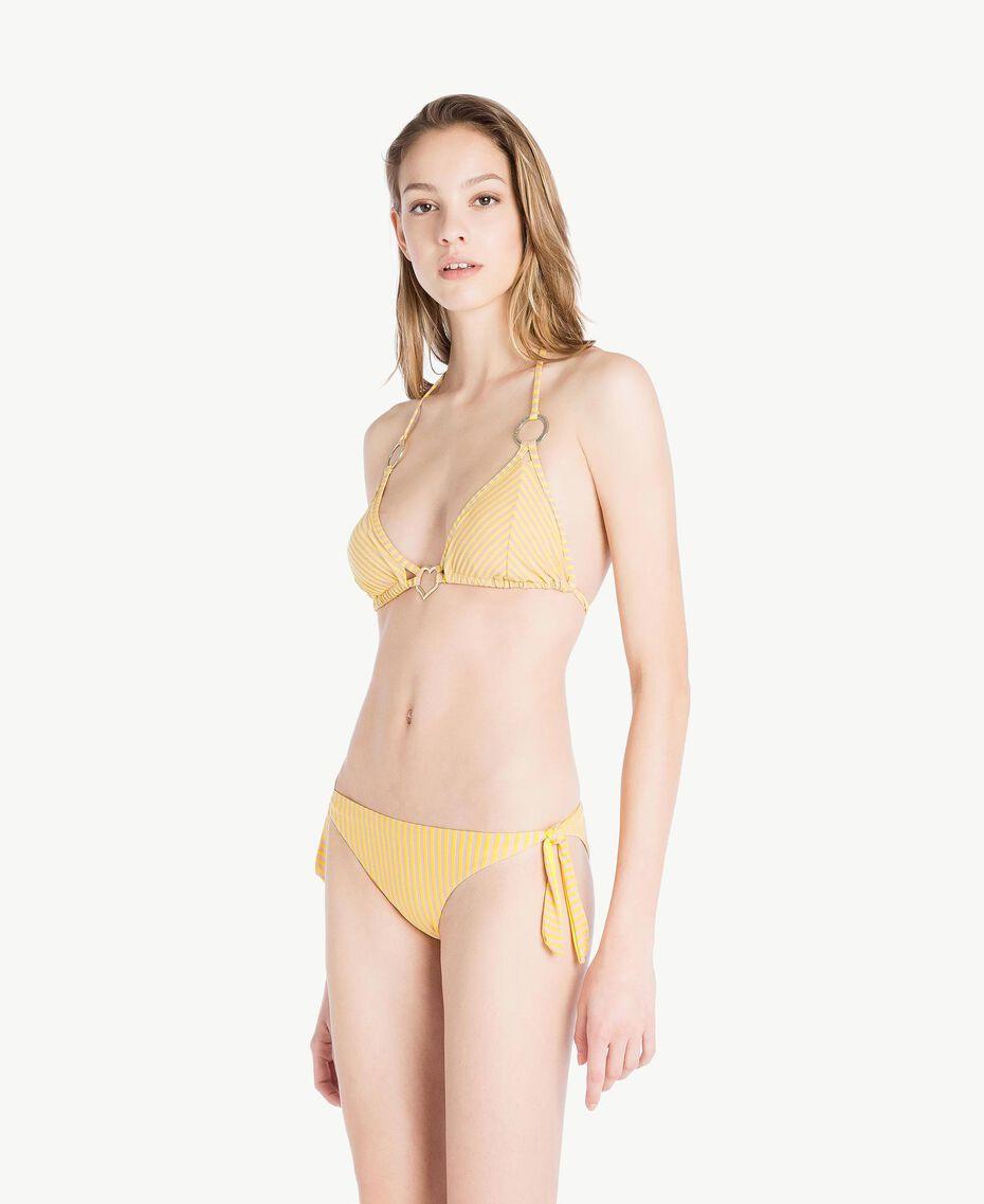 Bikinitanga mit Streifen und Schleifen Lurexstreifen Yellow Fizz Frau MS8C77-03