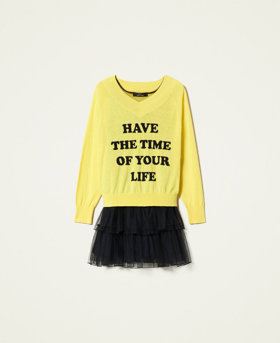 Maxi maglia e abito sottoveste in tulle Bicolor Sunny Yellow / Nero Donna 212AP3120-0S