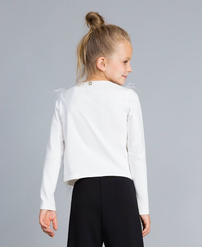 Cotton t-shirt with feathers Off White Child GA827B-03