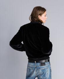 Faux fur bomber jacket Black Woman JA82KA-03