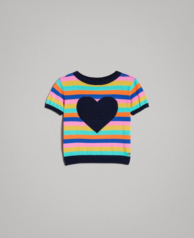 Multicolour striped cotton jumper Multicolour Striping Child 191GJ3070-01