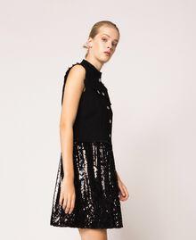 Full sequin shirt dress Black Denim Woman 201MP2260-02