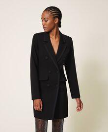 Long jacket with crêpe de Chine details Black Woman 202MP2291-03