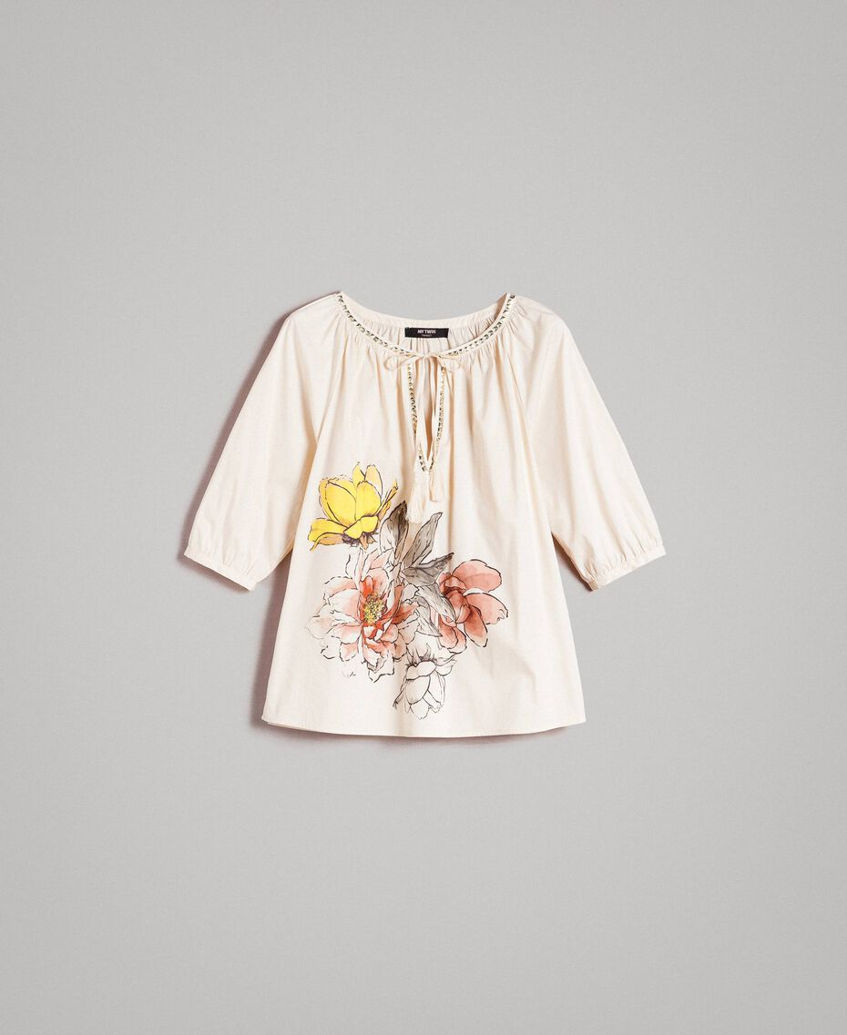 """Poplin blouse with print and studs """"Shell"""" Beige Woman 191MT2143-0S"""