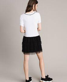 Robe avec broderie et jupe en tulle Bicolore Blanc / Noir Femme 191MP2234-03
