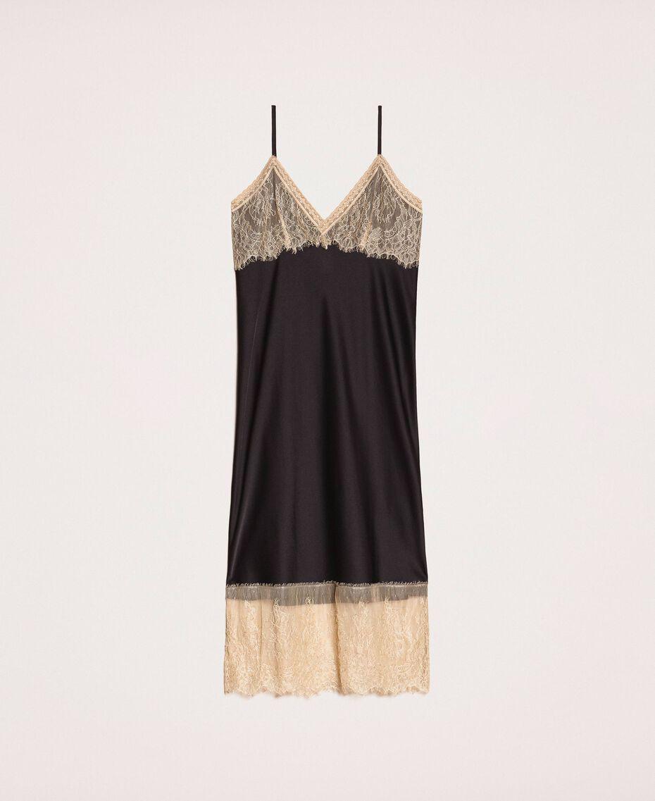 "Satin slip dress with lace Two-tone Black / ""Hemp"" Beige Woman 201MP2131-0S"