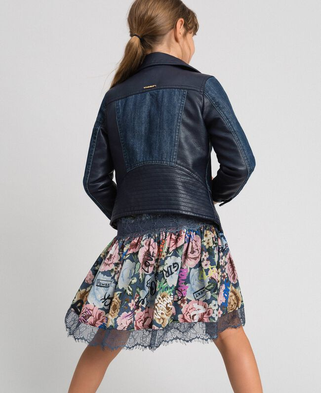 Giacca in jeans e similpelle Blue Night Bambina 192GJ2050-03