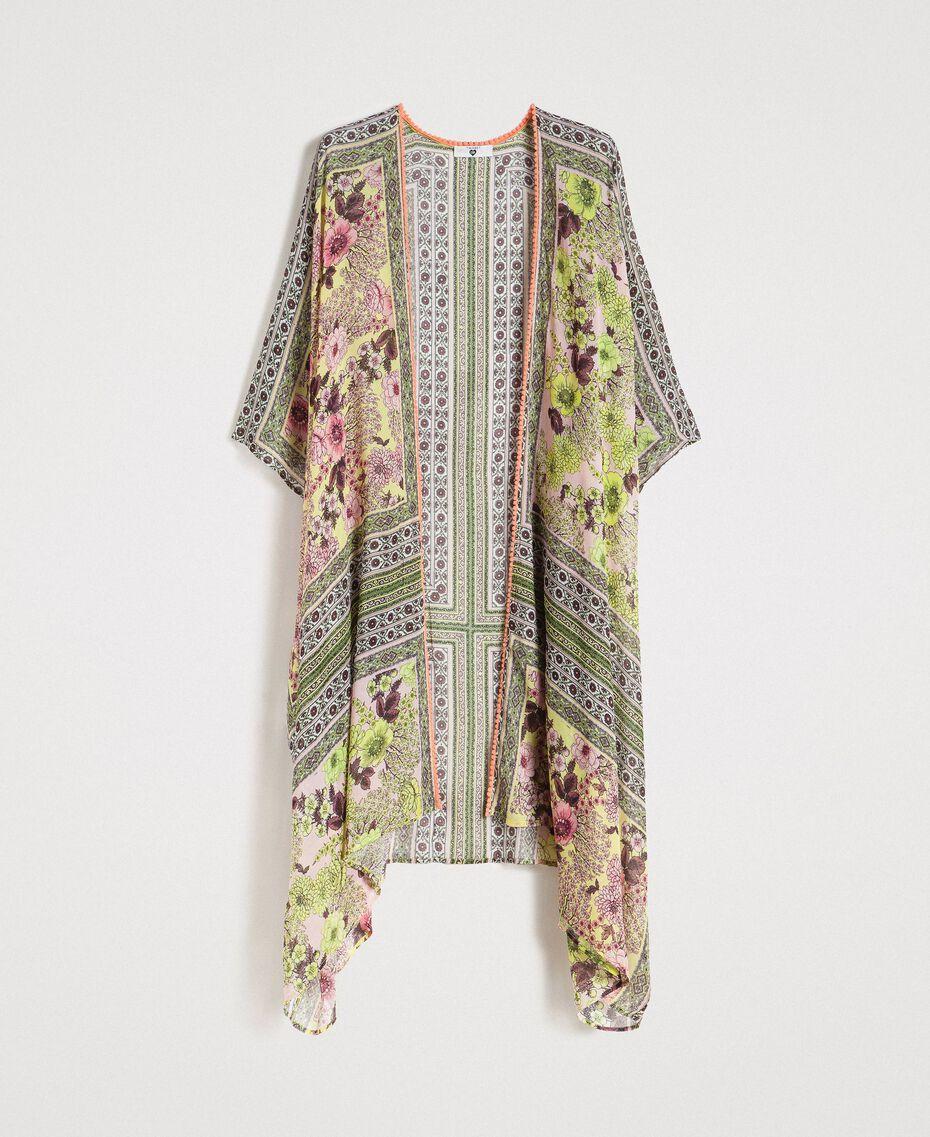"""Long kimono crêpé avec imprimé écharpe Imprimé Foulard Jaune """"Jus De Citron"""" Femme 191LB2HLL-0S"""