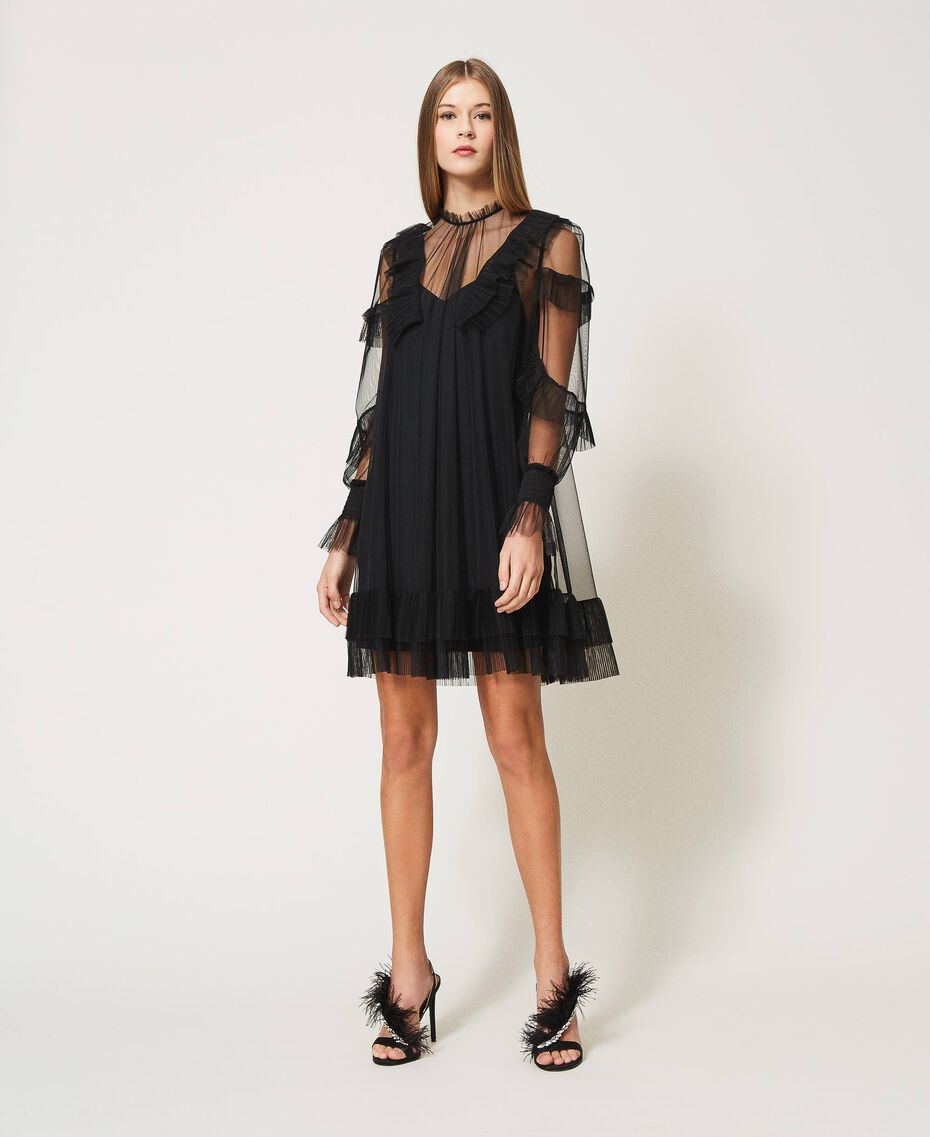 Tulle dress with pleated flounces Black Woman 211TQ2047-01