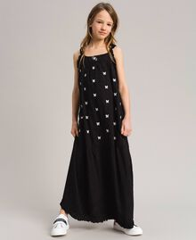Plumetis long dress with embroideries Black / Optical White Embroidery Child 191GJ2372-0S