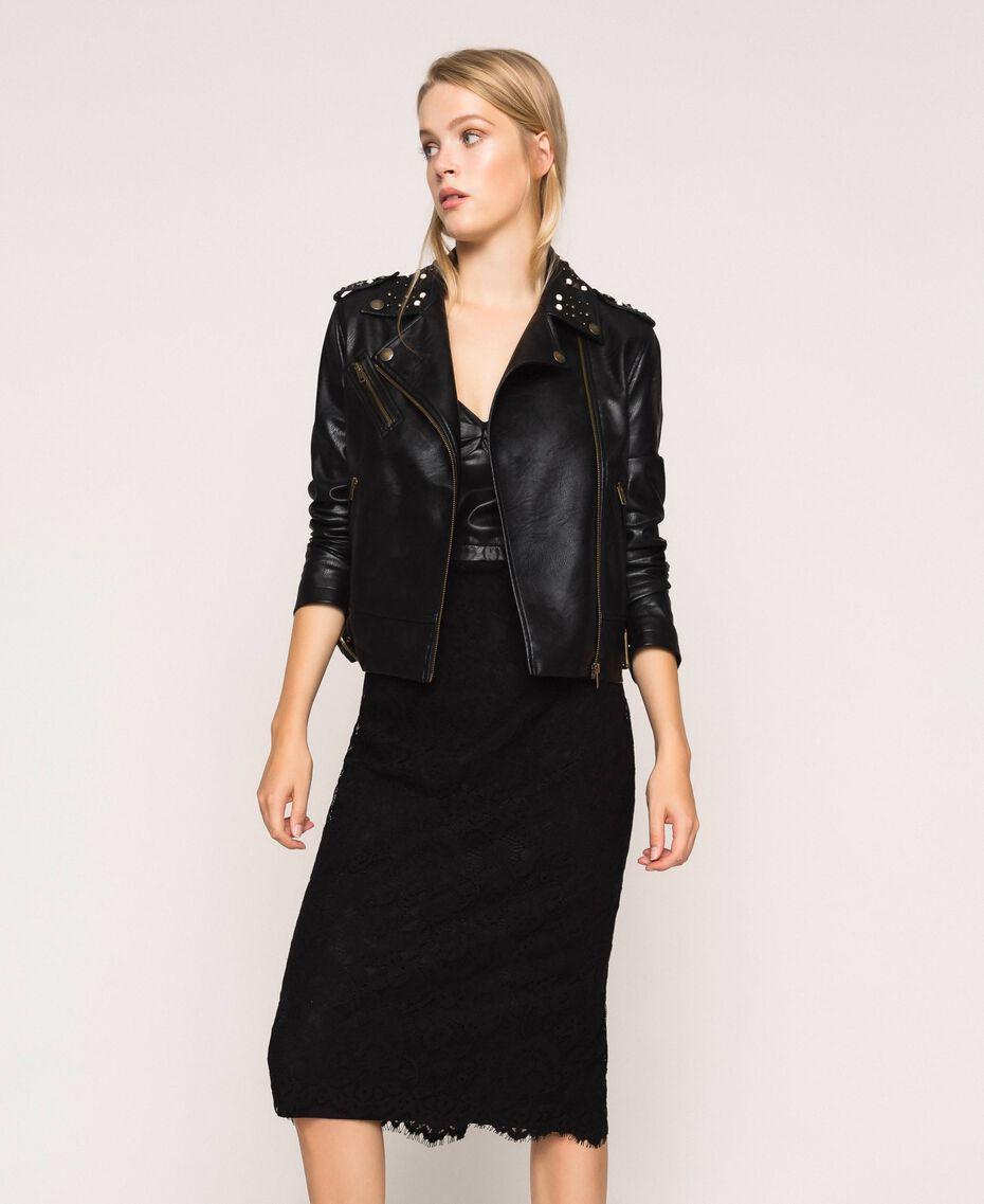 Байкерская куртка из искусственной кожи с заклепками и жемчугом Черный женщина 201TP241A-02