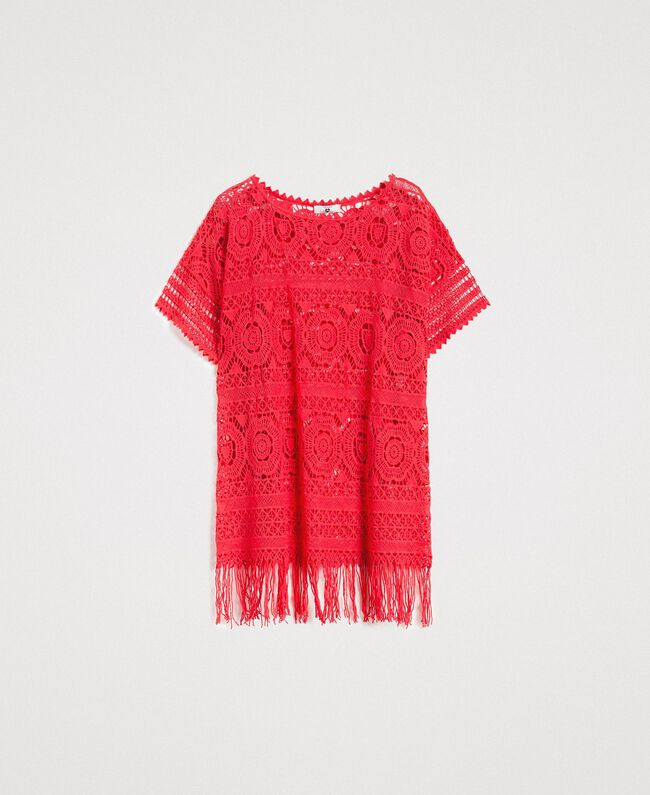 "Crochet poncho with fringes ""Framboise"" Red Woman 191LM3NGG-01"