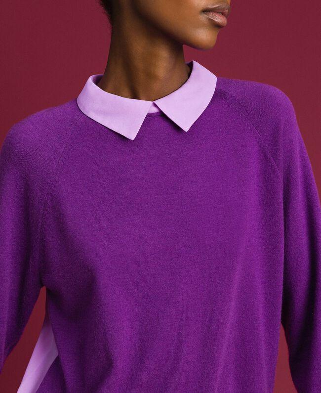 Pull en mélange de laine et crêpe georgette Violet / Rose «Glycine» Femme 192ST3060-04
