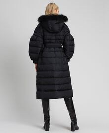 Long quilted padded jacket with real down Black Woman 192TT2173-04
