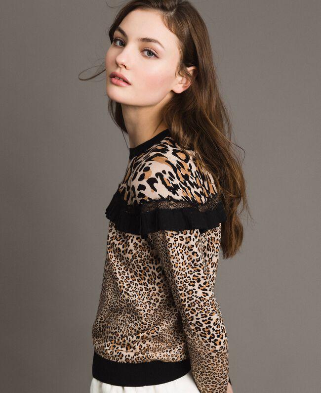 Pullover mit Animal-Print und Spitze Motiv Verschiedene Tiere Frau 191TP3413-01