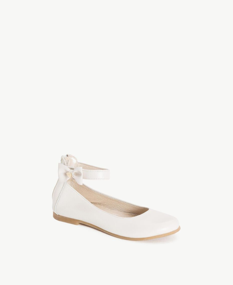 Bow ballerina pumps Pale Cream Child HS86CN-02
