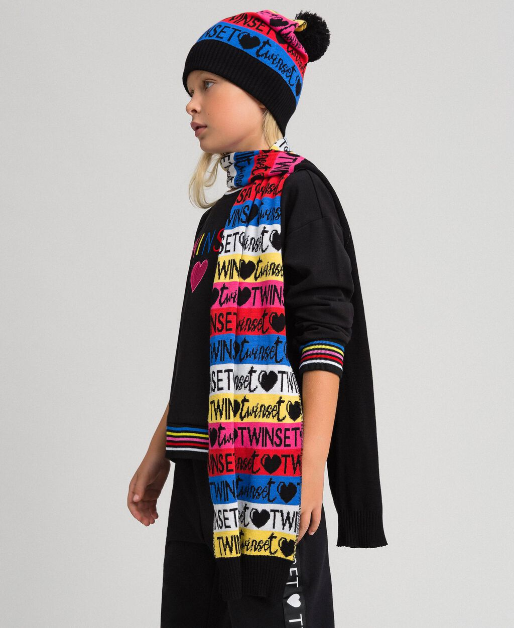 Jacquard knit scarf and hat