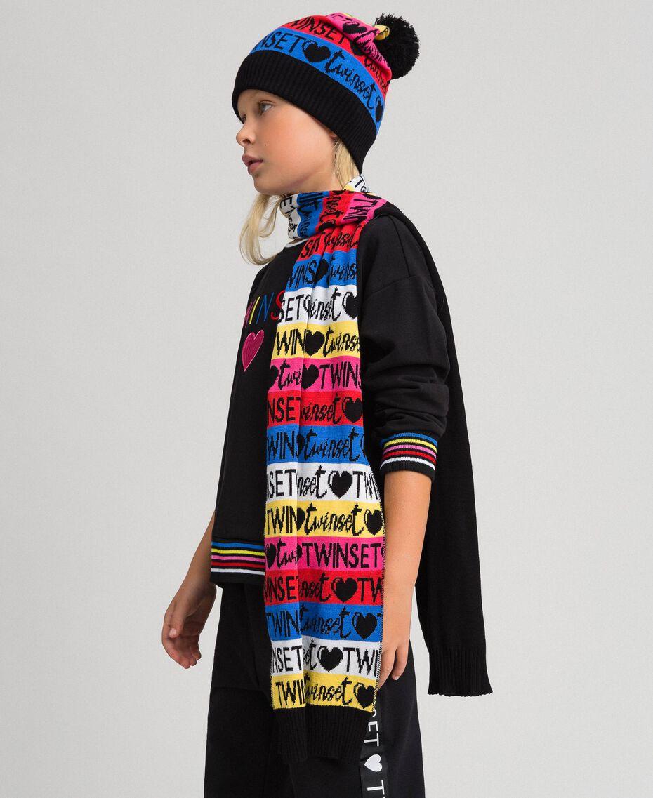 Шарф и шапочка из жаккардового трикотажа Разноцветный логотип Pебенок 999GJ4016-0S