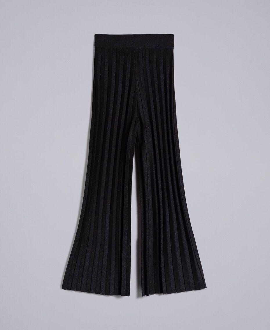 Pantalon large en maille plissée lurex Noir Lurex Femme PA83CE-0S