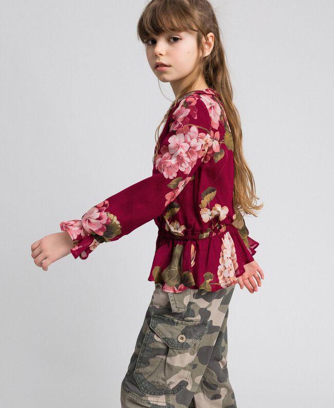 Blouse en crêpe georgette avec imprimé floral Imprimé Rouge Betterave Géranium Enfant 192GJ2591-01