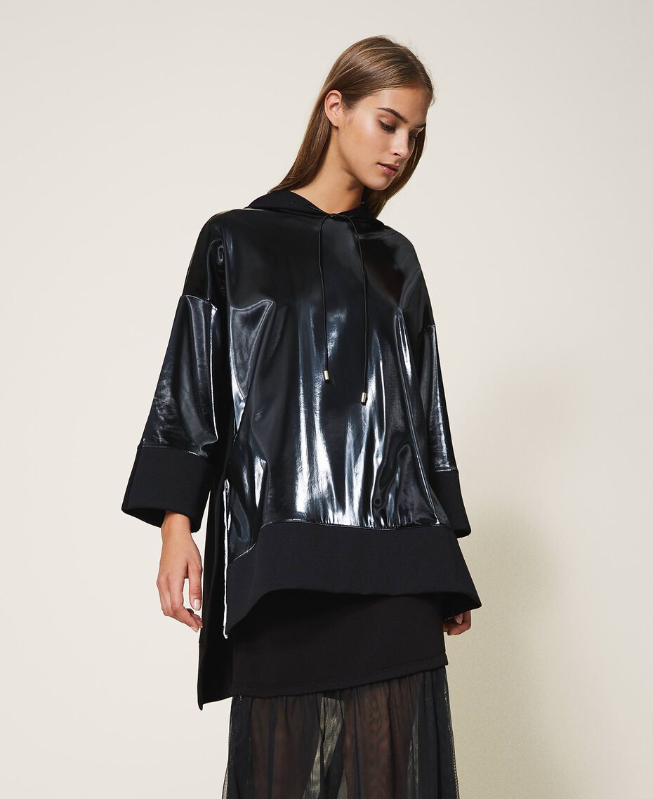 Maxi sweatshirt with patent leather inlays Black Woman 202LI2JAA-02