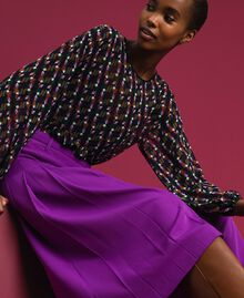 Trouser-skirt with pleats and logo Purple Woman 192ST2164-04