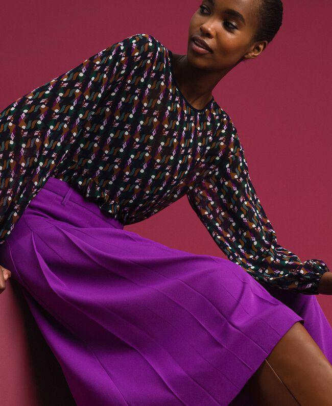 Jupe-culotte avec plis et logo Violet Femme 192ST2164-04
