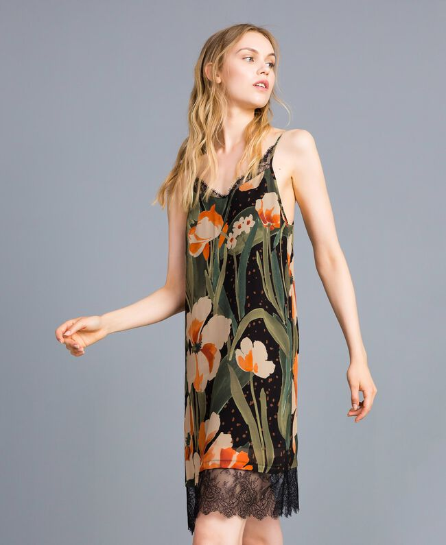 Printed georgette slip dress Maxi Black Tulip Print Woman TA828V-03