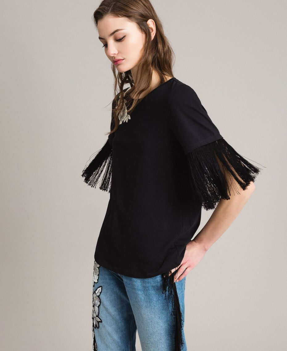 Embroidery and fringe T-shirt Black Woman 191TT2131-02
