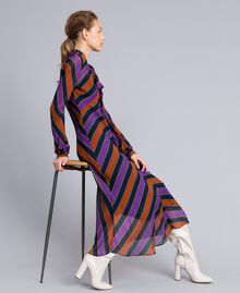 Long striped georgette dress Multicolour Stripe Print Woman TA8294-0T