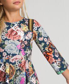 Robe en scuba avec imprimé floral et graffiti Imprimé Graffiti Enfant 192GJ2495-05