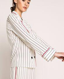 Striped crêpe de Chine shirt Vanilla / Black Stripes Woman 201MP2100-02